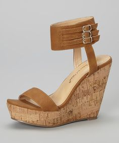 Look what I found on #zulily! Tan Triple-Buckle Rose Wedge Sandal by Chase & Chloe #zulilyfinds