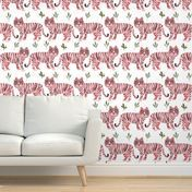 """32"""" Pink Tigers - white - Spoonflower White Wallpaper, Perfect Wallpaper, Custom Wallpaper, Wallpaper Roll, Design 24, Textured Walls, Bedroom Wall, Installation Art, Creative Business"""