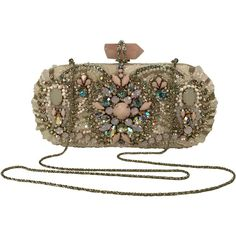 Pre-Owned Marchesa Beaded Lily Clutch (62.005 RUB) ❤ liked on Polyvore featuring bags, handbags, clutches, iridescent, brown purse, multi colored purses, beaded clutches, multi colored clutches and embellished handbags