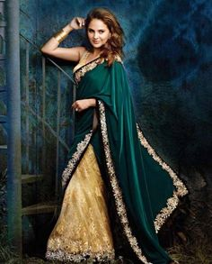 111237 Green, Beige and Brown color family Bollywood Saree in Velvet fabric with Machine Embroidery work with matching unstitched blouse. Bollywood Designer Sarees, Bollywood Saree, Bollywood Fashion, Indian Dresses, Indian Outfits, Indian Clothes, Green Sari, Red Frock, Lara Dutta