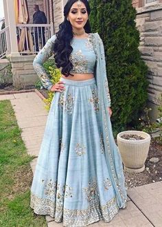 party wear indian outfits Do you need the best quality Elegant Designer Salwar suit plus Latest Elegant Designer ladies Salwar suits if so then CLICK Visit link above for more options Indian Wedding Outfits, Pakistani Outfits, Indian Outfits, Indian Lehenga, Lehenga Designs, Anarkali, Lehenga Choli, Blue Lehenga, Raw Silk Lehenga