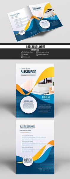 Brochure Cover Layout with Orange and Blue Ribbon Elements. Buy this stock template and explore similar templates at Adobe Stock Corporate Brochure Design, Bi Fold Brochure, Creative Brochure, Brochure Cover, Corporate Flyer, Brochure Template, Flyer Template, Business Poster, Business Brochure