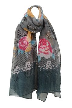 Grey Spring Flowers Chiffon Scarf from Bridget's Boutique