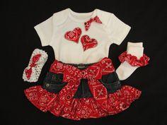 Yee Haw Cute bandana jean skirt outfit for by NanasLittleCuties