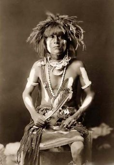 Honovi-Walpi, a Hopi Snake Priest, with Totkya, 1910, photographed by Edward S. Curtis (1868-1962, American)
