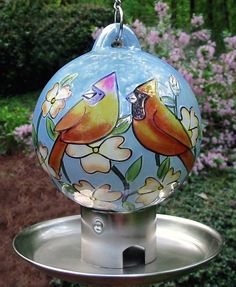 Ceramic Cardinal Pair Globe Bird Feeder
