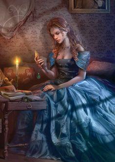 Beautiful artwork of woman reading by Chris Ortega