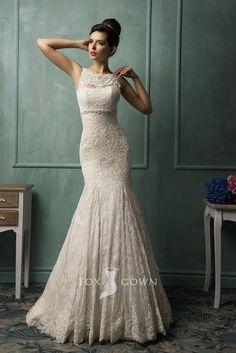 alluring lace trumpet boat neck sleeveless v-back wedding dress