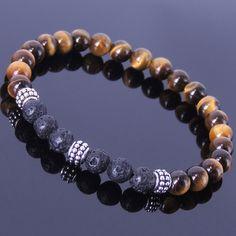Handmade Gemstone Bracelet Hématite Perles Argent Sterling Marcassite Hommes Femmes