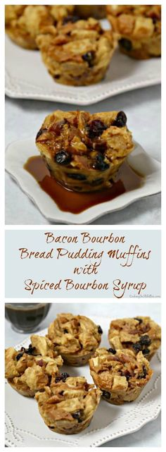 These Bacon Bourbon Bread Pudding Muffins are a chic modern twist on a comforting classic. Custard soaked challah studded with bourbon plumped cherries, sweetly spiced bacon and drizzled with a spiced bourbon syrup - how bad can that be? #BaconMonth | Cooking In Stilettos ~ http://cookinginstilettos.com