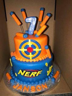 Great Picture of Nerf Birthday Cake - Birthday Cake Easy Ideen Birthday Cake Kids Boys, 7th Birthday Cakes, Nerf Birthday Party, Cupcake Birthday Cake, Birthday Cake Decorating, Birthday Treats, Nerf Party, Birthday Nails, Softball Birthday Cakes