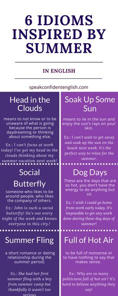 What's your favorite idiom from this list? Learn more and get the chance to practice in the online lesson: http://www.speakconfidentenglish.com/8-summer-idioms/?utm_campaign=coschedule&utm_source=pinterest&utm_medium=Speak%20Confident%20English%20%7C%20English%20Fluency%20Trainer&utm_content=8%20English%20Idioms%20Inspired%20by%20Summer