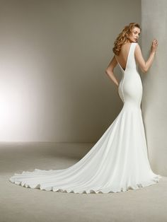wedding dress with simple lines