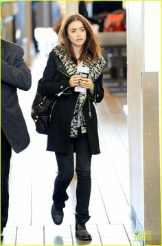 Lily Collins and Diesel Hooded Leather Trim Knit Vest Photograph
