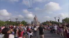 The U.S. Navy Flight Demonstration Squadron, the Blue Angels flying over the Magic Kingdom 3/19/15