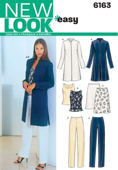 Beautiful Picture of Womens Sewing Patterns Womens Sewing Patterns Womens Jacket Top Pants Sewing Pattern 6163 New Look Patterns Coat Pattern Sewing, Easy Sewing Patterns, Jacket Pattern, Vintage Sewing Patterns, Simplicity Sewing Patterns, New Look Patterns, Coat Patterns, Clothing Patterns, Patron Vintage