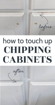 Even the best painted cabinets will eventually start chipping and showing wear and tear. Find out exactly how to touch up your chipping cabinets and make them look brand new again. It's the cheapest, easiest way to fix up worn out painted cabinets in your kitchen or bathroom. Painting Oak Cabinets White, Painting Laminate Cabinets, Best Kitchen Cabinet Paint, White Kitchen Cabinets, White Furniture, Painted Furniture, Melamine Cabinets, Kitchen On A Budget, Kitchen Ideas