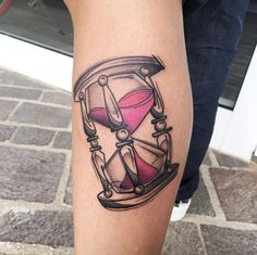 Sketch style hourglass tattoo by Luca Testadiferro
