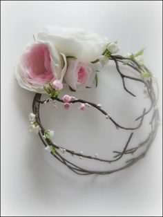 Ribbon and fabric flowers, bridal head band, Nigar Hikmet