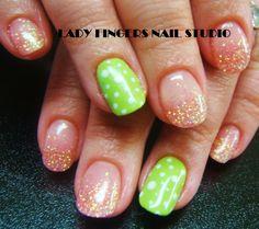 #nail #nails #nailart #nailporn #nailideas #naildesign #trendynails #gelnails #gelpolish #nailpolish #art #gelmanicure #manicure #accentfinger #limegreen #dots #glitter #springnails #rockstar #rockstarnails #French #fadedfrench #frenchmanicure