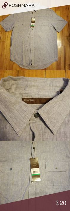"Perry Ellis Linen Shirt NWT. Perry Ellis 100% linen button-down shirt. 2 front buttoned pockets. Size L. Light gray color (Called Iron on the tag). Short sleeves. 22.5"" chest laying flat. 28"" length. Great summer shirt! Perry Ellis Shirts"