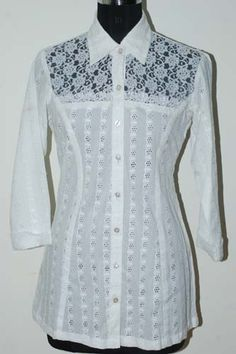 White Chikan Shirt with Net Lace Yoke.