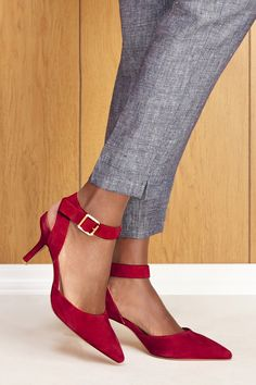 Red suede ankle strap pumps, perfect for the office! | Sole Society Olyvia