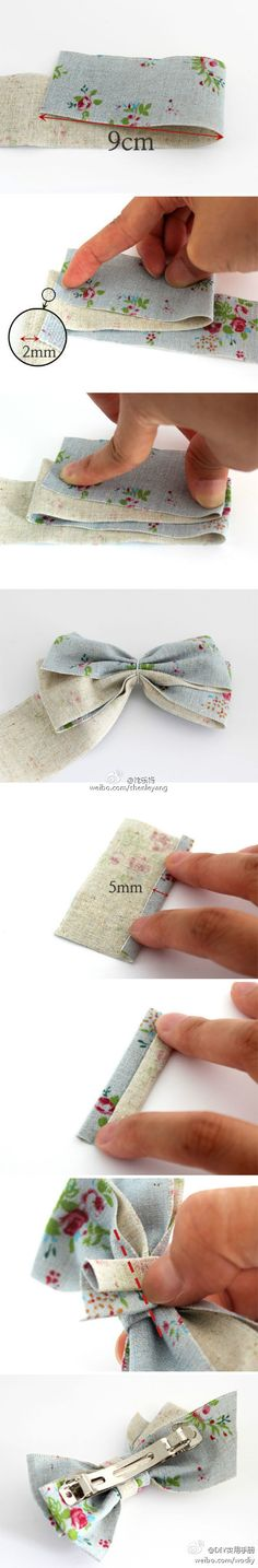 DIY Fabric bow- technique would work bigger or smaller and can be used in decor or ON CHAIRS