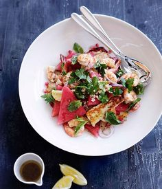 Top 50 Best Grilled Prawn Salad Recipes on the Net: #Prawn, #Halloumi and #Watermelon #Salad #recipe by @gourmetpins