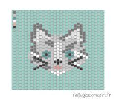Tissage brick stitch : diagramme chat tigré