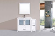 "48"" Newport White Single Modern Bathroom Vanity with Side Cabinet and Integrated Sink #BathroomRemodel #BlondyBathHome #BathroomVanity  #ModernVanity"