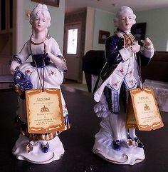 Vintage KPM Porcelain Sculptures (man & woman) White and Blue