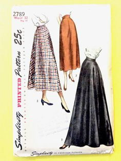 Uncut Evening Skirt Early 1950s Simplicity 2789 Misses'