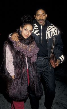 Debbie Allen and husband Norman Nixon being photographed on November 11 1988 at Le Dome Restaurant in West Hollywood California. CREDIT: RON GALELLA