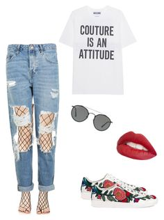 """""""🌹"""" by laure-lien on Polyvore featuring Gucci, Leg Avenue, Topshop, Moschino, Ray-Ban and Jouer"""