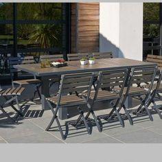 Salon de jardin Aluminium et Bois composite Camberra Naturel - 6 à ...