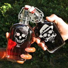 Etched flasks with His and Hers rockabilly style sugar skulls by ScissorMill.com