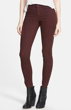 Kiind of 'Monroe' Twill Skinny Jeans (Oxblood Red) available at #Nordstrom