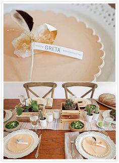 Feather Name Plates and Bohemian Table