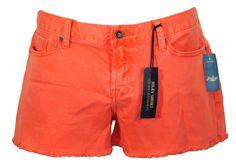 NEW Lucky Brand Womens Short RILEY Boyfriend Fit Denim Cutoffs Orange Sz 14/32 #LuckyBrand #Denim