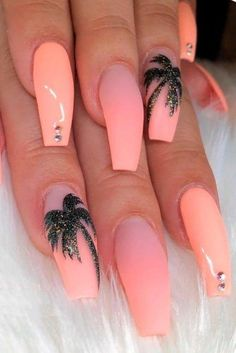 Peach Nails With Tropic Print ★ Easy, cute and fun summer nail designs are waiting for you to get inspired with. Make sure that you greet the beach season right! nails 57 Special Summer Nail Designs For Exceptional Look Perfect Nails, Gorgeous Nails, Nail Design Glitter, Cute Summer Nails, Summer Holiday Nails, Nail Summer, Bright Summer Gel Nails, Nail Ideas For Summer, Summer Stiletto Nails