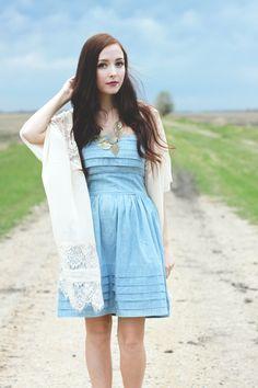 Denim dress, lace cardigan, berry lips