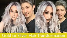 Gold to silver hair transformation silver ombre hair, silver hair men, silver hair highlights Silver Fox Hair, Silver Blonde Hair, Gold Hair, Platinum Hair Color, Men Hair Color, White Ombre Hair, Ombre Hair Color, Silver Ombre, Blonde Hair Transformations