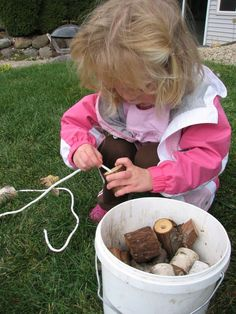 In our house, Daddy runs a sawmill/woodshop, Little Gal… Natural Play Spaces, Outdoor Play Spaces, Outdoor Fun, Outdoor Education, Outdoor Learning, Reggio, Backyard Play, Outdoor Playground, Playground Ideas