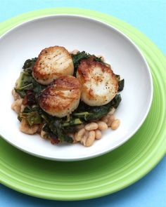 Seared Scallops and Wilted Greens