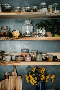 If you're looking for a bit of fall decor inspiration, this somewhat minimal decor was almost entirely free and easy to make. Kitchen Shelves, Kitchen Decor, Kitchen Design, Minimal Decor, Gothic Home Decor, Gothic House, Fall Wreaths, Home Kitchens, Interior Design