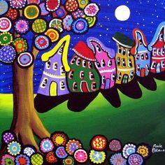Whimsical colorido árboles flores casas arte por reniebritenbucher