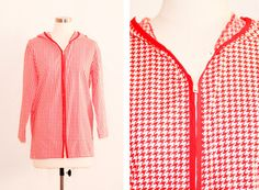 Vintage Red & White Houndstooth Jacket
