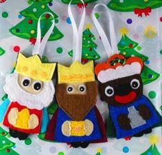 figuras para arbol reyes magos figura navidad fieltro cosido a mano