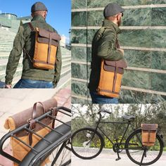 Small rucksack convertible into a saddlebag, waterproof bicycle rucksack for the city, pannier rucksack Hipster Backpack, Travel Backpack, Rucksack Backpack, Canvas Leather, Waxed Canvas, Bicycle Panniers, Leather Bicycle, Trendy Backpacks, Backpack Pattern